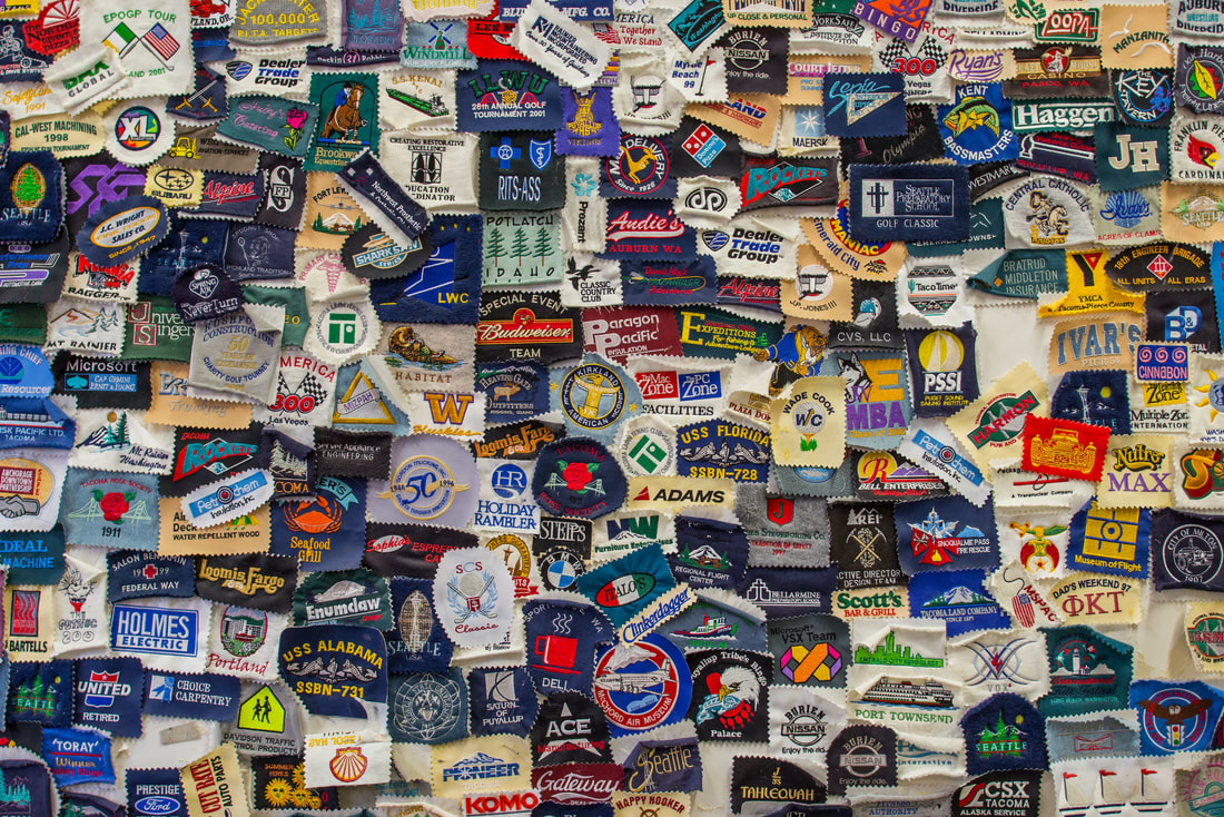 Embroidered Logos in many colors that represent 50,000 logos created by Northwest Embroidery