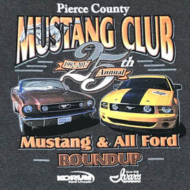 Mustang Cars 1966 Red mustang and 2015 yellow mustang. T-shirt printed for the Pierce County Mustang Club Roundup