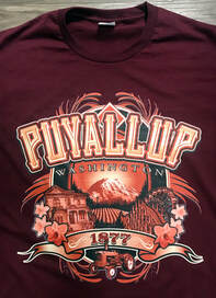 City of Puyallup Washington Design with Meeker Mansion, Mt.Rainier and Western Washington Fair Grounds. Printed at Northwest Embroidery using Kornit Direct to Garment printers